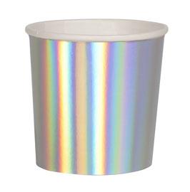 8 petits gobelets argent holographiques meri meri
