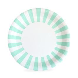 12 grandes assiettes bord rayé vert menthe et blanc