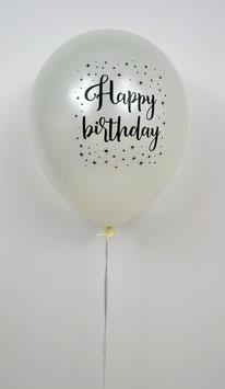 """5 ballons blancs métallisés imprimés """"Happy birthday"""" avec étoiles"""