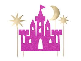 Décoration gateau chateau de princesse fuchsia