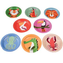 8 petites assiettes animaux colorés