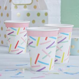 8 gobelets blancs motifs plumetis pastels