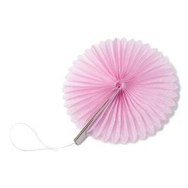 8 petits éventails papier alvéolés rose pastel 10cms