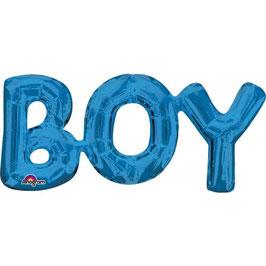 "Ballon métallique bleu écriture ""Boy"" majuscule"
