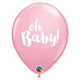 """5 ballons roses écriture """"Oh Baby"""" blanche"""