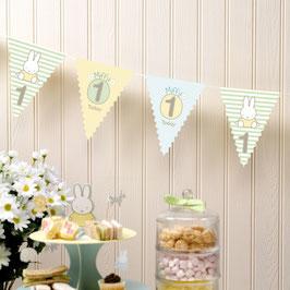 Guirlande fanions pour décoration premier anniversaire Miffy
