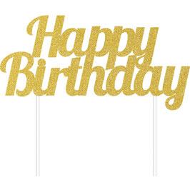 Décoration gateau cake topper Happy Birthday Doré