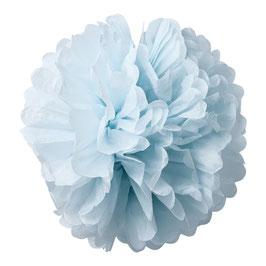 2 pompons en papier de soie bleu ciel 50cms et 40cms