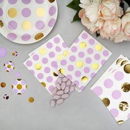 25 sachets en papier avec pois parmes et dorés