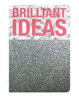 "Carnet pailleté format 12X17.5cms message ""Brillant ideas"""