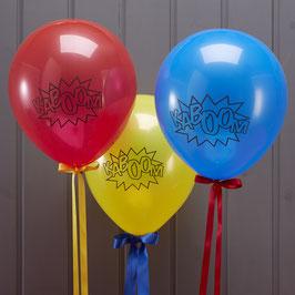 """10 ballons bleus, jaunes et rouges avec écriture """"Kaboom"""""""