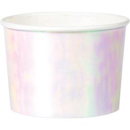 6 pots blancs irisés pastels en carton