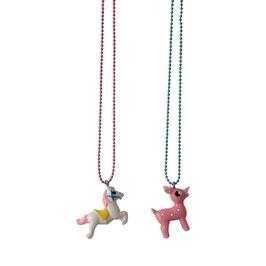 """2 Colliers """"meilleures amies"""" cheval blanc et bambi rose Pop Cutie"""