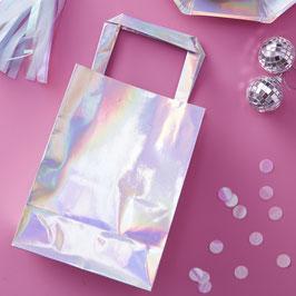 5 sacs invités irisés argent multicolore