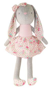Grande poupée lapin en tissu avec jupe fleurs Alimrose