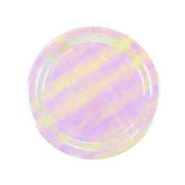12 assiettes pastels irisées