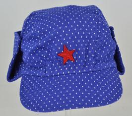 casquette fond bleu électrique pois blanc bord ajustable Kik kid