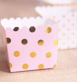 6 Petits pots roses avec pois dorés pour bonbons ou friandises