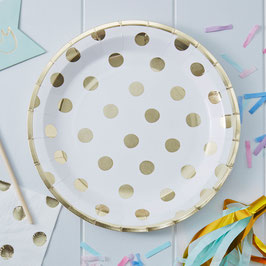 8 assiettes blanches pois or anniversaire pastel mix and match