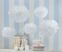 5 pompons blancs en papier de soie