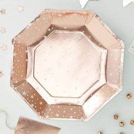 8 assiettes rose doré avec étoiles blanches