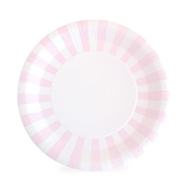 12 grandes assiettes bord rayures roses pastels et blanches