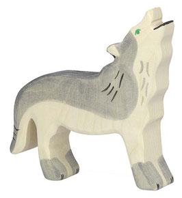 Loup hurlant en bois Holztiger