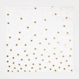 16 grandes serviettes avec étoiles dorées dégradées my little day