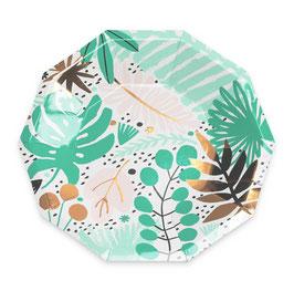 8 petites assiettes imprimés tropical