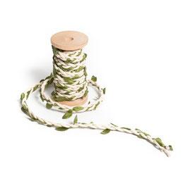 Ruban tressé corde beige et feuilles