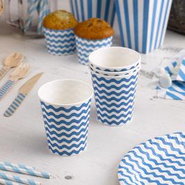 8 gobelets en carton fond blanc vague bleu turquoise