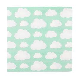 20 serviettes vert menthe avec nuages blancs My little day