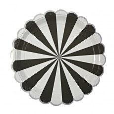 8 grandes assiettes en carton rayures noir et blanc meri meri