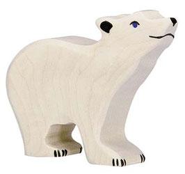 Ours polaire petit tête haute en bois Holztiger