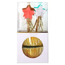 24 piques étoiles filantes et moules gâteaux dorés Meri Meri