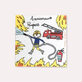 6 invitations anniversaire pompier avec 6 enveloppes blanches , Mathilde Cabanas