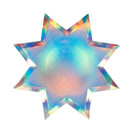 8 grandes assiettes étoiles argent holographiques meri meri