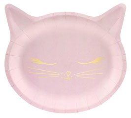 6 Assiettes Chat Rose et Or