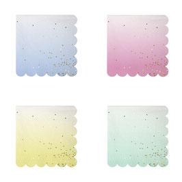 16 petites serviettes dégradées pastel avec paillettes dorées Meri Meri