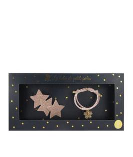 Coffret bracelet Liberty Rose Capel et barrette 3 étoiles rose doré