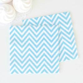 20 petites serviettes blanches chevrons bleu ciel