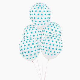 5 ballons blancs imprimés étoiles bleues My little day