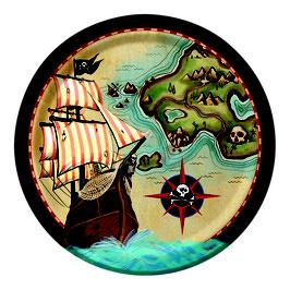 8 assiettes en carton anniversaire Pirate