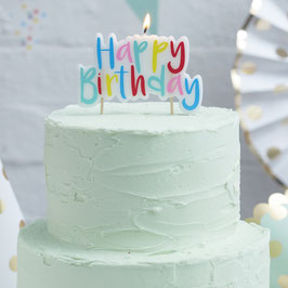 Bougie Happy Birthday multicolore