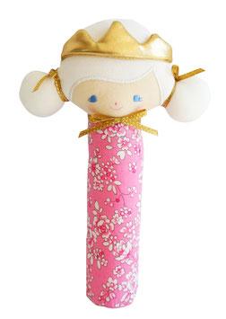 Hochet princesse Portia tissu rose à fleurs Alimrose