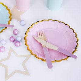 6 petites assiettes rose pastel bordure dorée 18 cms
