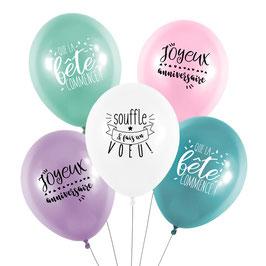 5 ballons anniversaire pastels Féérique
