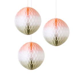 3 boules alvéolées tie and dye orange clair blanc beige