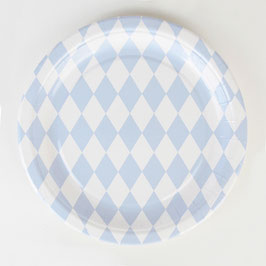 8 assiettes en carton motif losanges bleu pastel my little day