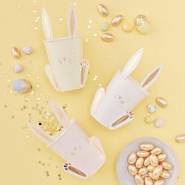 8 Gobelets pastels clairs lapin doré